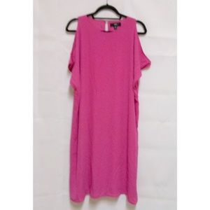 Pink Off Shoulder Womens Sz 2X Shift Dress D30